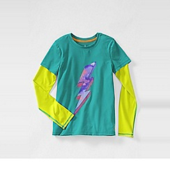 Lands' End - Blue little girls' long sleeve activewear layering tee