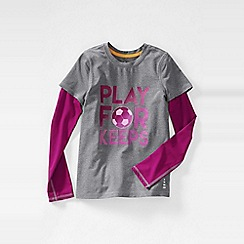 Lands' End - Grey little girls' long sleeve activewear layering tee