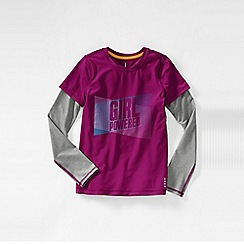 Lands' End - Pink girls' long sleeve activewear layering tee