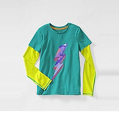 Lands' End - Blue girls' long sleeve activewear layering tee