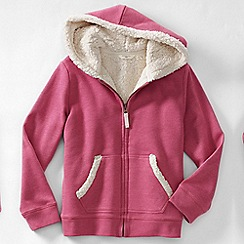 Lands' End - Pink little girls' long sleeve sherpa hoodie