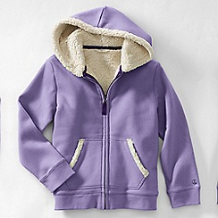 Lands' End - Purple little girls' long sleeve sherpa hoodie