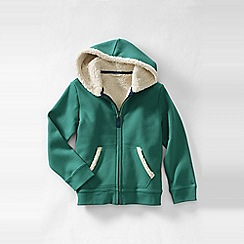 Lands' End - Green girls' long sleeve sherpa hoodie