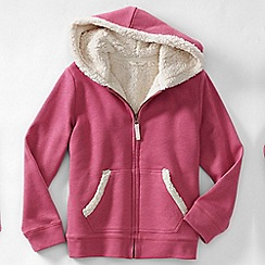 Lands' End - Pink girls' long sleeve sherpa hoodie