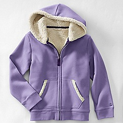 Lands' End - Purple girls' long sleeve sherpa hoodie