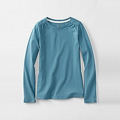 Lands' End - Blue little girls' gathered shoulder tee