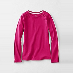 Lands' End - Pink girls' gathered shoulder tee