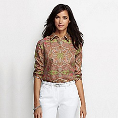 Lands' End - Multi three quarter sleeve non iron patterned shirt