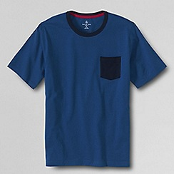 Lands' End - Blue men's ringer super-t with pocket