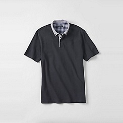Lands' End - Grey men's woven collar supima piqu polo