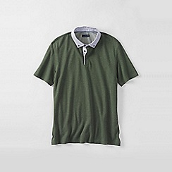 Lands' End - Green men's woven collar supima piqu polo