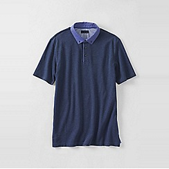 Lands' End - Blue men's woven collar supima piqu polo