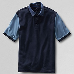 Lands' End - Blue men's colourblock supima® polo