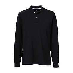 Lands' End - Black regular long sleeve pique polo