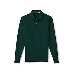 Lands' End - Green regular long sleeve pique rugby shirt