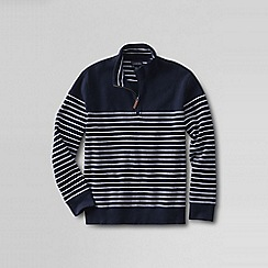 Lands' End - Blue men's stripe brushed rib pullover