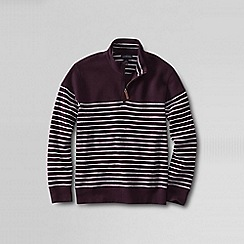 Lands' End - Red men's stripe brushed rib pullover