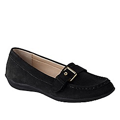 Lands' End - Black women's casual suede loafers