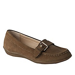 Lands' End - Beige women's casual suede loafers