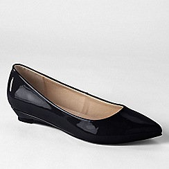 Lands' End - Black women's point toe mini wedge shoes