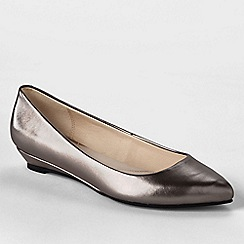 Lands' End - Metallic women's point toe mini wedge shoes