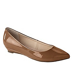 Lands' End - Brown women's point toe mini wedge shoes