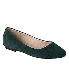 Lands' End - Green women's quilted suede ballet shoes