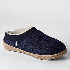 Lands' End - Blue women's cable knit slippers