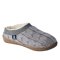Lands' End - Grey women's cable knit slippers