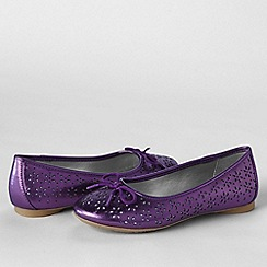 Lands' End - Metallic girls' perforated ballet shoes