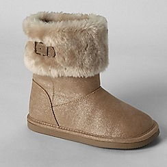 Lands' End - Gold girls' cosy boots
