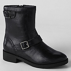 Lands' End - Black girls' marley buckle boots