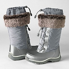 Lands' End - Grey girls' snowflake boots