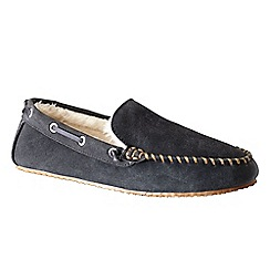 Lands' End - Grey men's suede moccasin slippers