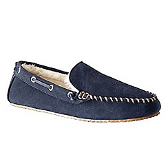 Lands' End - Blue men's suede moccasin slippers