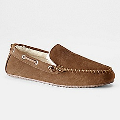 Lands' End - Brown men's suede moccasin slippers