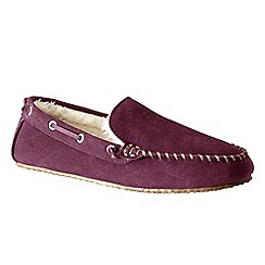 Lands' End - Purple men's suede moccasin slippers
