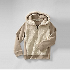 Lands' End - Beige little girls' hoodie with sherpa body