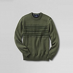 Lands' End - Green men's chest cable drifter cotton sweater