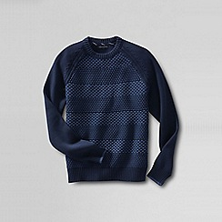Lands' End - Blue men's textured stripe drifter cotton sweater