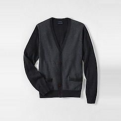 Lands' End - Black fine gauge jacquard v-neck cardigan