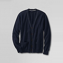 Lands' End - Blue men's fine gauge tipped v-neck cardigan