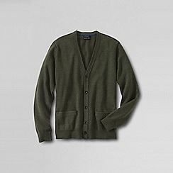 Lands' End - Green men's fine gauge tipped v-neck cardigan