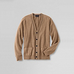 Lands' End - Beige men's fine gauge tipped v-neck cardigan