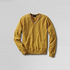 Lands' End - Gold men's fine gauge tipped v-neck sweater
