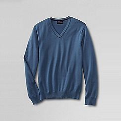Lands' End - Blue men's fine gauge tipped v-neck sweater