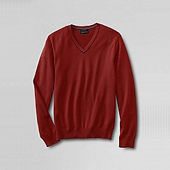 Lands' End - Red men's fine gauge tipped v-neck sweater