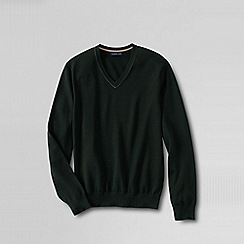 Lands' End - Green fine gauge tipped v-neck sweater