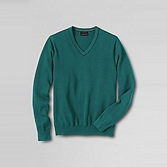 Lands' End - Green men's fine gauge tipped v-neck sweater