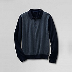Lands' End - Black men's fine gauge jacquard polo sweater